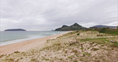 Aerial of Tairua beach, Coromandel New Zealand Stock Footage