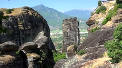 Meteora monolithic mount formation. Greece Stock Footage