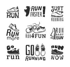 Running labels vector illustration Stock Illustration