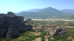 Kalabaka town as seen from Meteora. Greece Stock Footage