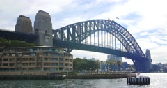 Beuaitful summer day Sydney Harbour bridge holiday destination Stock Footage