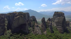 Meteora monolithic mount formation. Greece Stock Footage