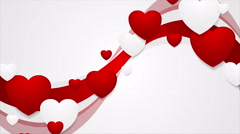 Red wavy video animation with hearts Stock Footage