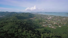 Drone Pan Footage Over Southern Phuket Beaches, Hills and Chalong Bay Stock Footage