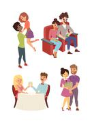 Dating couple vector set Stock Illustration