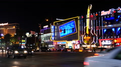 Traffic in Front of Hard Rock Casino - Las Vegas Stock Footage
