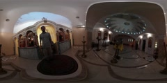 360Vr Video Man Filming Church Archangel Gabriel Interior Restoration Opening Stock Footage
