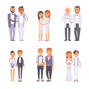 Wedding gay couples vector set Stock Illustration