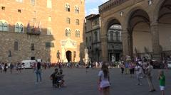 ULTRA HD 4k, Palazzo Vecchio and the Piazza della Signoria in Florence Stock Footage