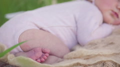 Sleeping newborn baby girl - stock footage