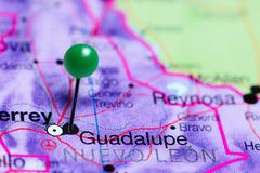 Guadalupe pinned on a map of Mexico Stock Photos