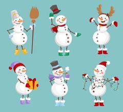 Cartoon snowman character Stock Illustration