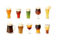 Beer vector icons set Stock Illustration