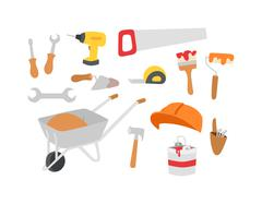 Construction instruments tools vector set - stock illustration