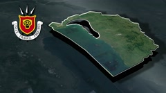 Bujumbura Rural with Coat Of Arms Animation Map Stock Footage