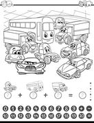 Maths activity coloring page Stock Illustration