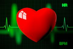 Heart with Heart Rate Graph Background, 3D Rendering Stock Illustration