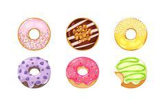 Donuts vector set Stock Illustration