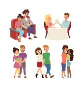 Dating couple vector set - stock illustration