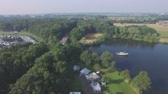 Aerial of vierdaagse  walking over bridge,Middelaar,Netherlands Stock Footage
