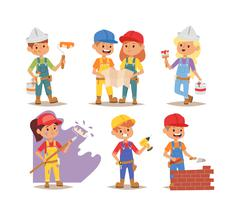 Builders kids vector charcaters - stock illustration