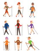 Nordic walking sport vector people - stock illustration