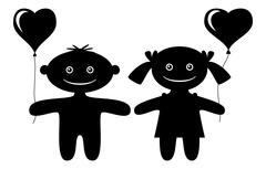 Children with heart balloons, silhouette Stock Illustration