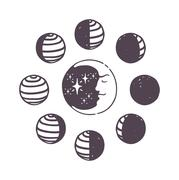 Moon phases vector set - stock illustration