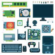 Computer symbols vector set - stock illustration