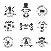 Barber shops symbols vector set Stock Illustration