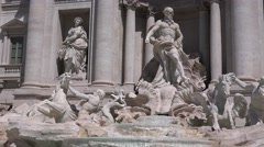 UHD 4K Detail Trevi Fountain monument in Rome city summer time front shooting  Stock Footage