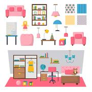 Baby kids room interior vector set - stock illustration