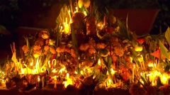 Buddha day in buddhist temple. People set candles, flowers and incense sticks Stock Footage