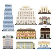 Hotel buildings vector illustration - stock illustration