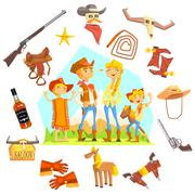 Family Dressed As Cowboys Surrounded By Wild West Related Objects Stock Illustration
