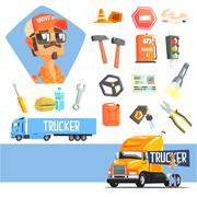 Long-Distance Truck Driver And Elements Related To This Job - stock illustration