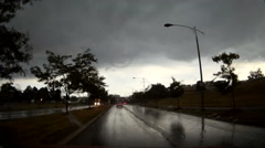 POV driving into severe thunderstorm with wall cloud forming Stock Footage