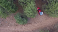 Aerial view of a campsite in the forest Stock Footage
