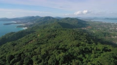 Ascending Aerial Drone Shot Over Phuket Hills And Beaches Stock Footage