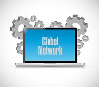 Global network computer sign concept Stock Illustration