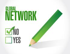 No global network approval sign concept Stock Illustration