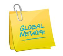 Global network memo post sign concept Stock Illustration
