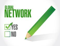 Global network approval sign concept Stock Illustration