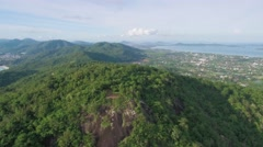 Black Rock Viewpoint and Chalong Bay Phuket Aerial Pullback Shot Stock Footage