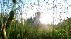 Evening in the village. The sun's rays beautiful illuminate   grass. Stock Footage