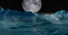 Ice mountains, frozen mist landscape reflecting full moon in night sky Stock Footage
