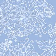 Background with hand drawn flowers, leafs and ribbon - stock illustration