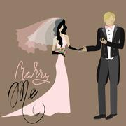 Wedding Card in Retro Style. Will You Marry Me. Lettering - stock illustration