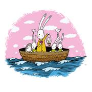 Cute little hares and hedgehog floating in a boat on the river Stock Illustration