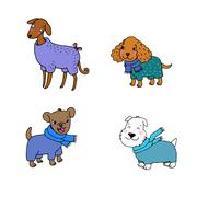 Cute cartoon dogs in winter clothes - stock illustration